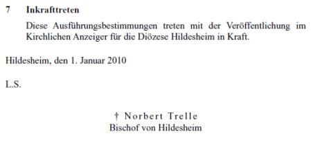 Ausführungsbestimmungen zum Vorgehen bei sexuellem Missbrauch Minderjähriger durch Geistliche im Dienst des Bistums Hildesheim